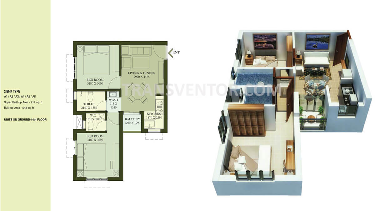 Calcutta Riverside Hiland Greens Phase II Floor Plan 1