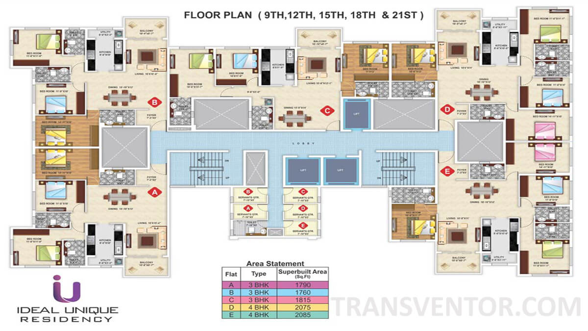 Ideal Unique Residency Floor Plan 3