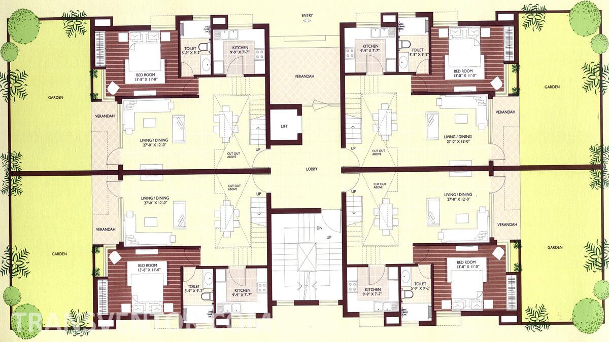 Vedic Sanjeeva Town Duplex Floor Plan 1