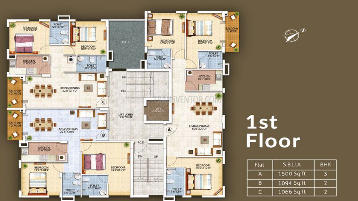 Oswal Orchard Residency Floor Plan 1
