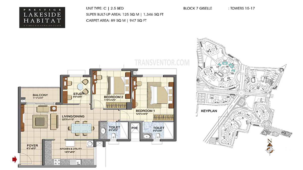 Prestige Lakeside Habitat Floor Plan 1