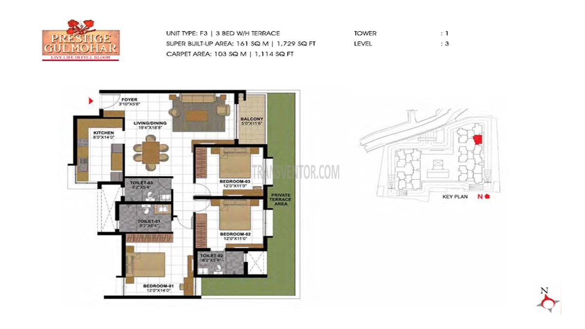 Prestige Gulmohar Floor Plan 3