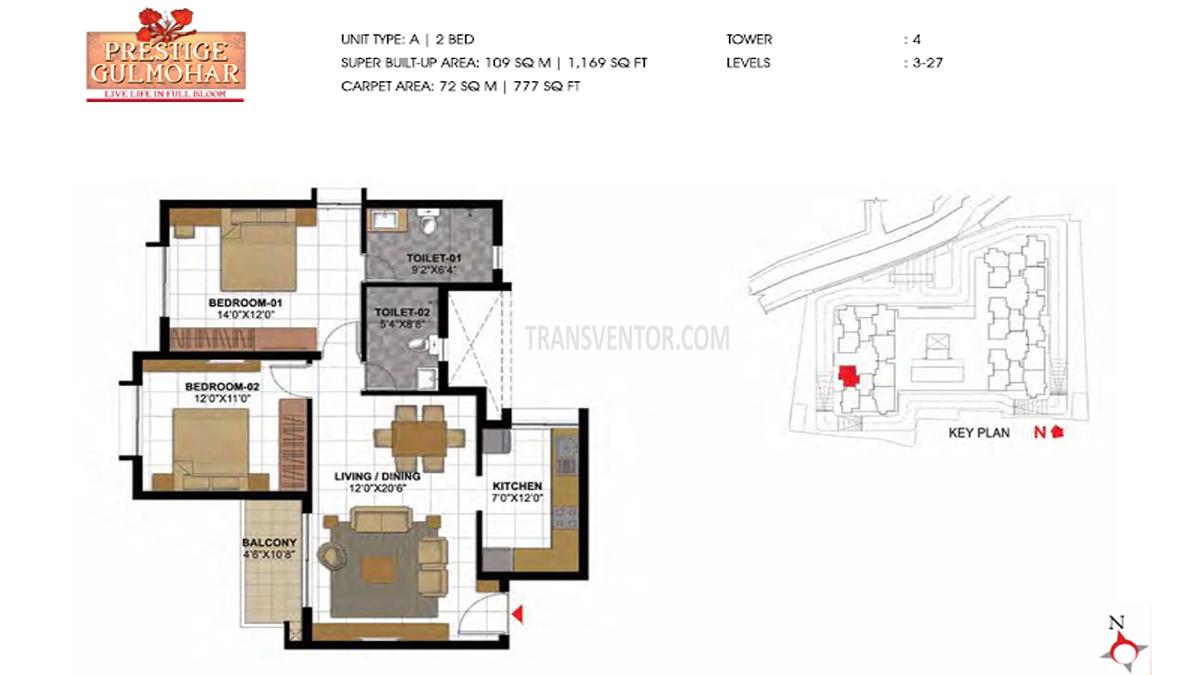 Prestige Gulmohar Floor Plan 7