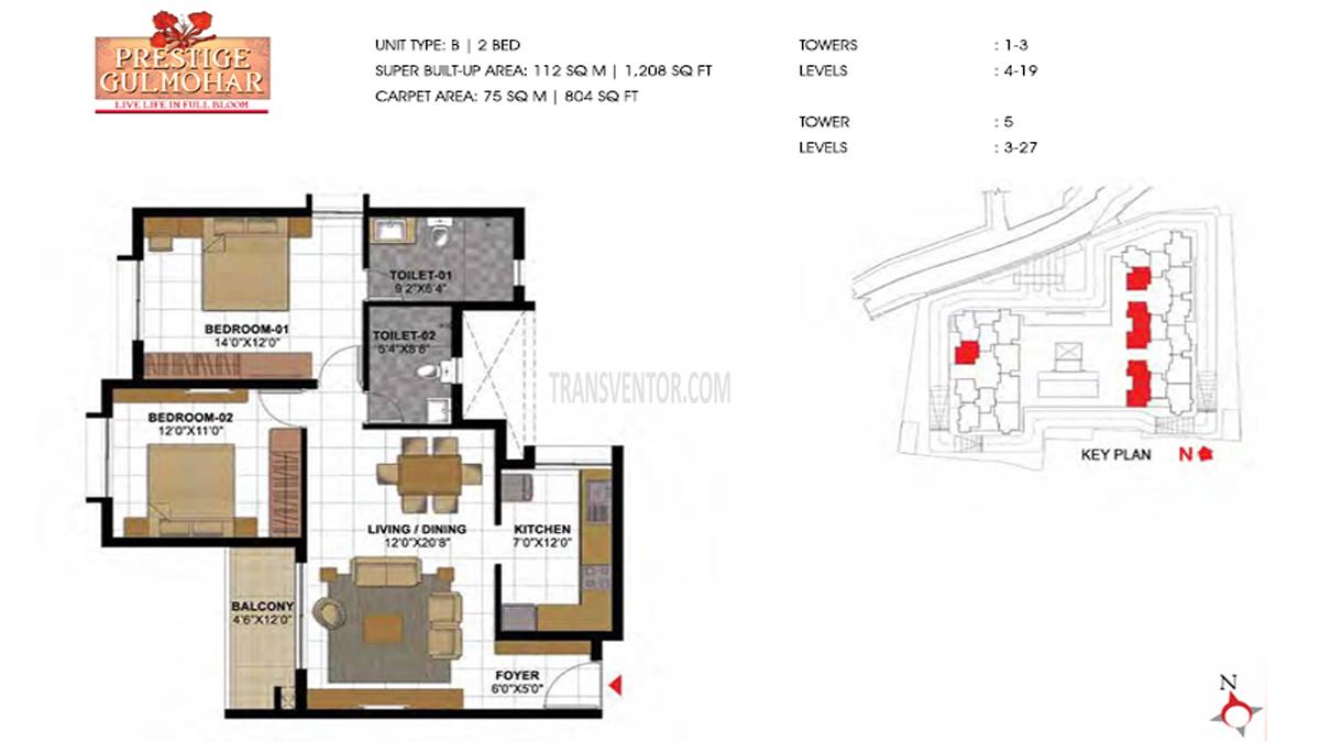 Prestige Gulmohar Floor Plan 8