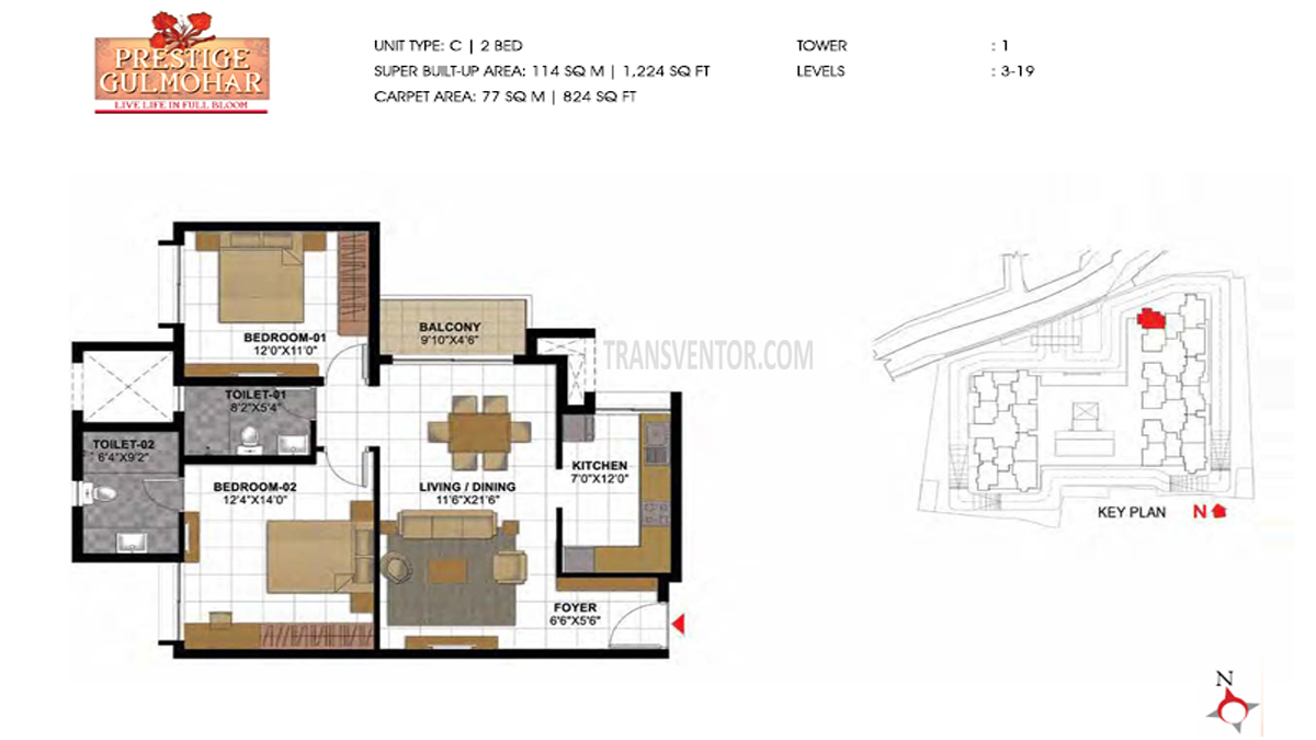 Prestige Gulmohar Floor Plan 9