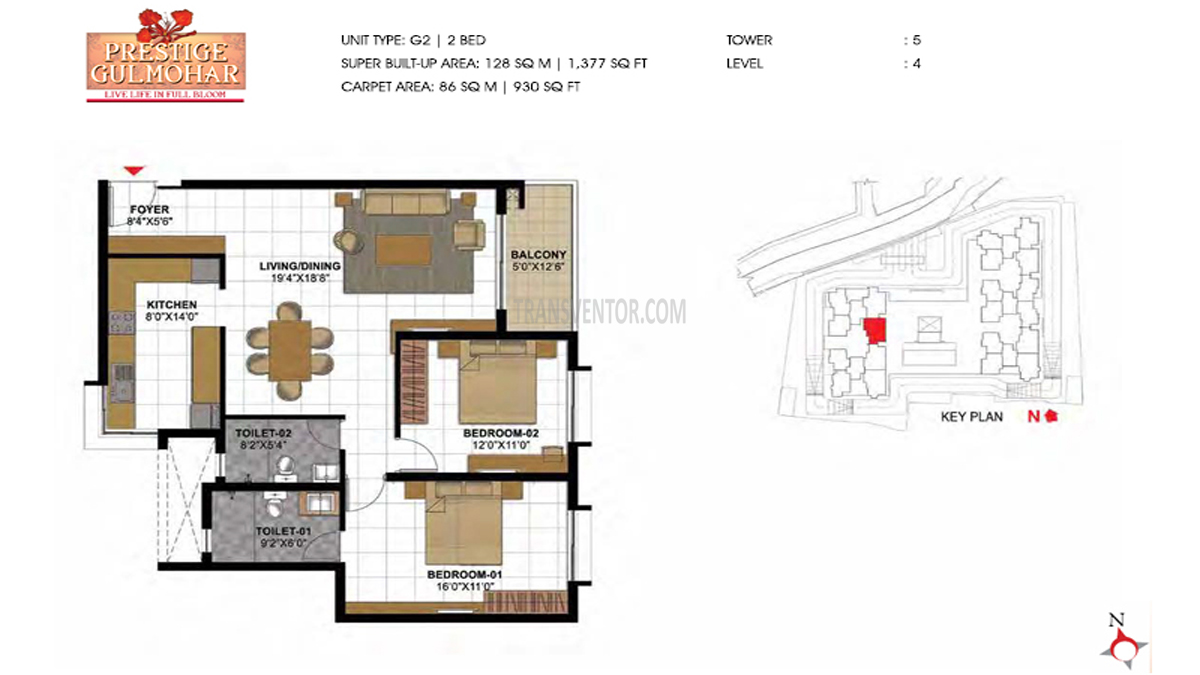 Prestige Gulmohar Floor Plan 13