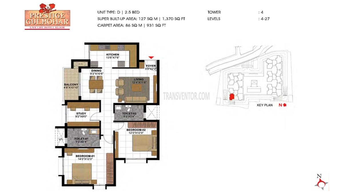 Prestige Gulmohar Floor Plan 4