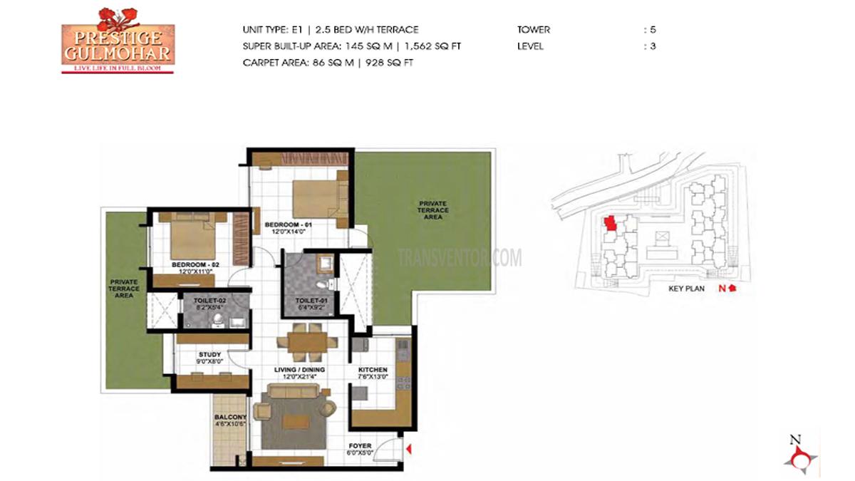 Prestige Gulmohar Floor Plan 5