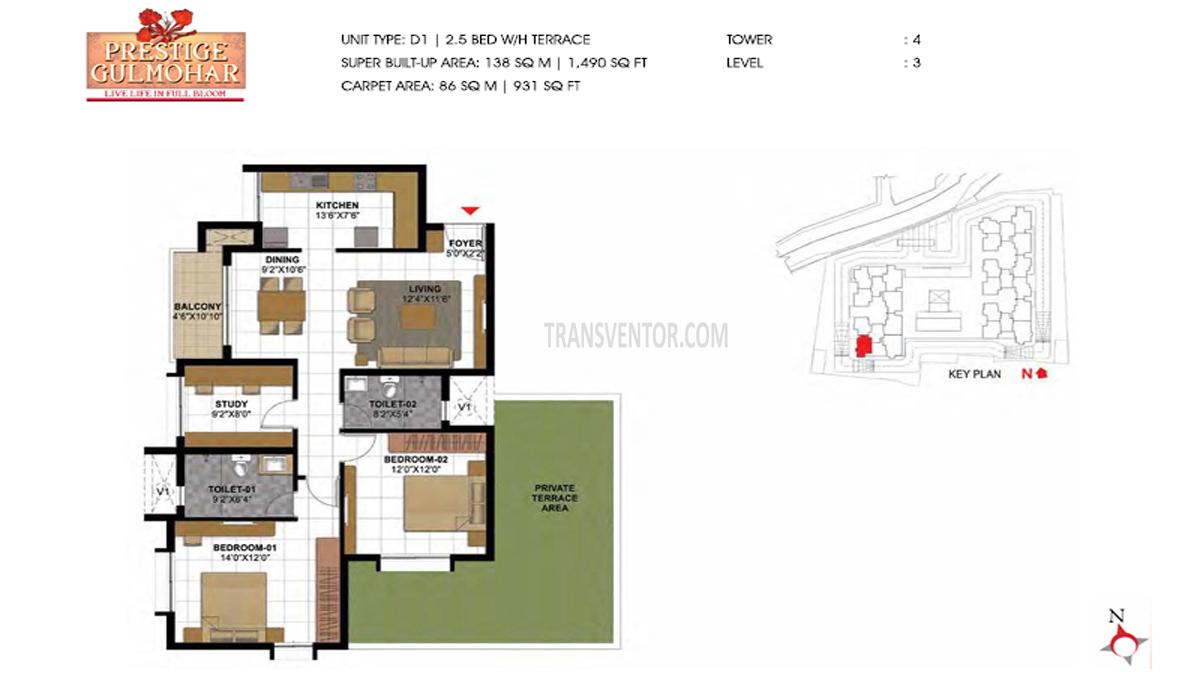 Prestige Gulmohar Floor Plan 6