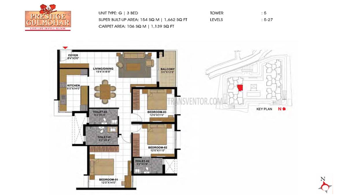 Prestige Gulmohar Floor Plan 15