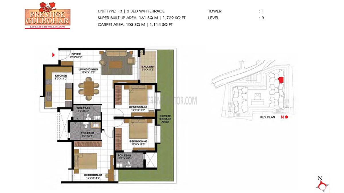 Prestige Gulmohar Floor Plan 17