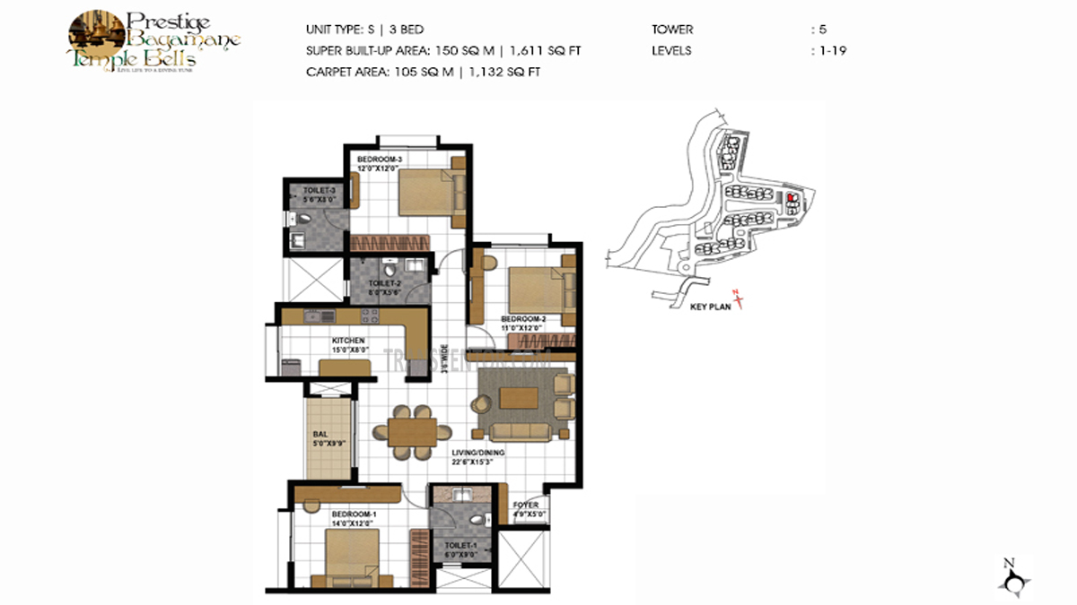 Prestige Bagamane temple bells Floor Plan 2
